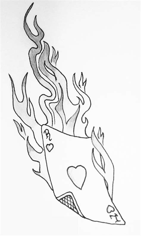 Black Playing Card In Fire Tattoo Stencil By Steff Mil