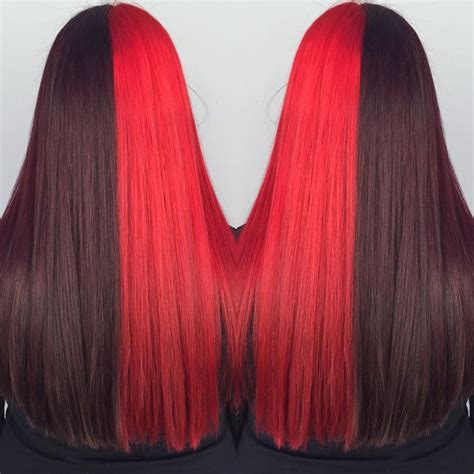 Two Toned Hair Black Cherry And Red Hair Colors Ideas