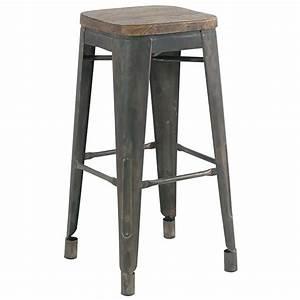 Tabouret Haut Scandinave : tabouret de bar storgard en bois et fer vieilli au look industriel chic ~ Teatrodelosmanantiales.com Idées de Décoration