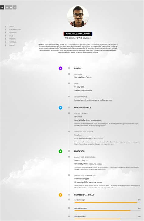 Resume Timeline Website by 50 Best Html Resume Cv Vcard Templates 2017 Freshdesignweb