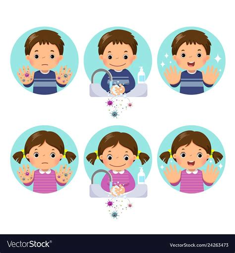 kids washing  cleaning hands  bubbles soap vector