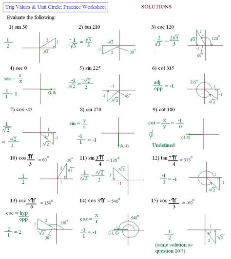 exact values of trig functions worksheet worksheets for
