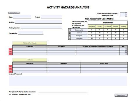 hazard assessment template 10 hazard analysis template word excel pdf free