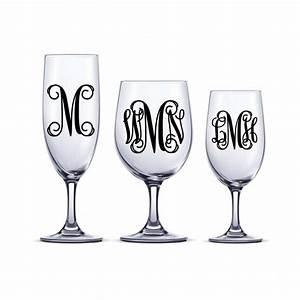 Diy vine monogram decal one or three initial sticker decal for Letter stickers for wine glasses