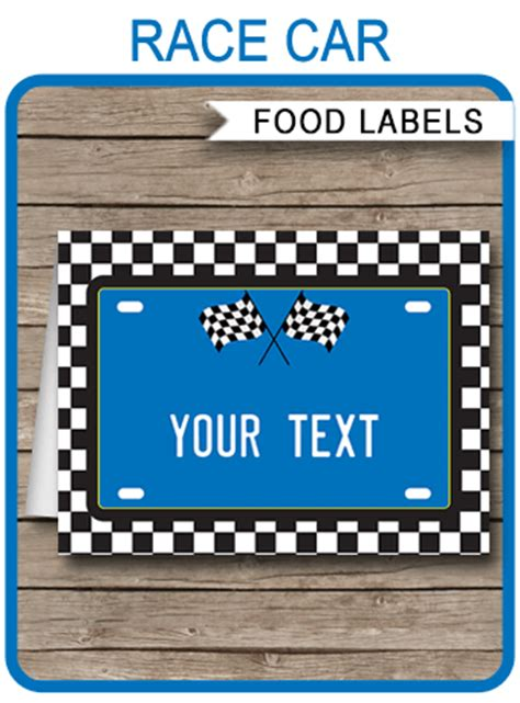 race car theme food labels blue place cards birthday