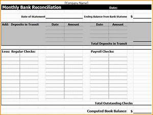 Excel Bank Register 6 Payroll Reconciliation Template Simple Salary Slip
