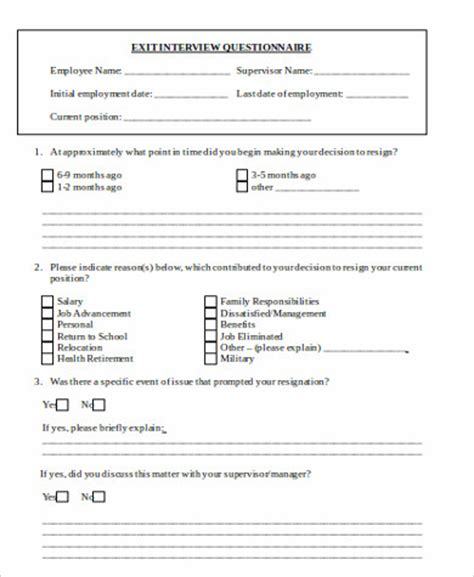 Exit Forms Templates by 9 Sle Employee Exit Forms Sle Templates