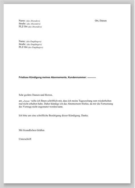 fristlose kündigung mietvertrag muster beurlaubung der vorlage