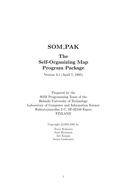 (PDF) SOM PAK: The self-organizing map program...
