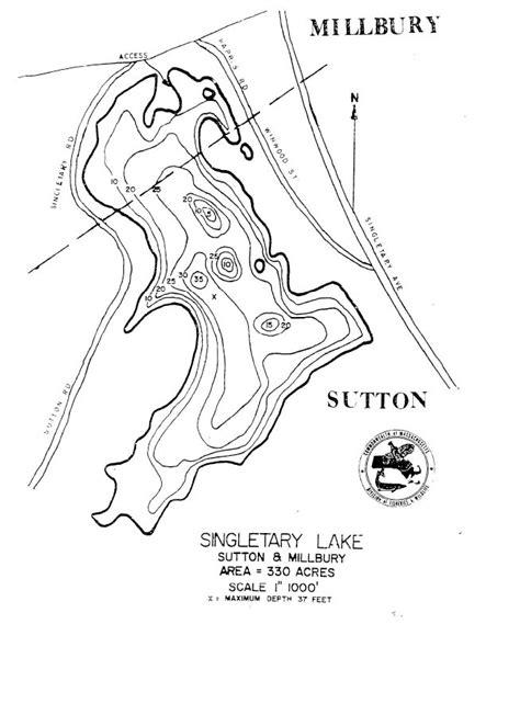 singletary lake map suttonmillbury ma