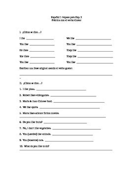Gustar Practice Worksheet By Spanish 912  Teachers Pay Teachers