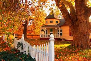Pretty House in Autumn Full HD Wallpaper and Background ...