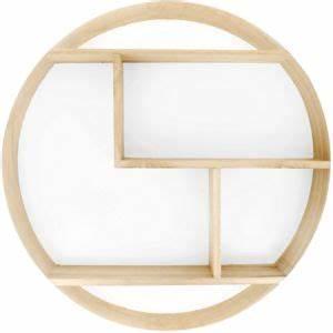 Etagere Ronde Murale : promobo grande tag re murale ronde scandinave en bois fond blanc pas cher achat vente ~ Teatrodelosmanantiales.com Idées de Décoration