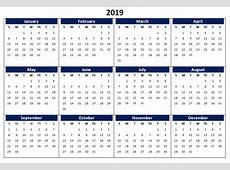 2019 Calendar Printable, Templates, Word, Excel, Wallpapers