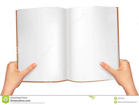 mains retenant le livre ouvert vecteur images stock