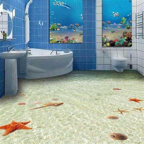 3D Non slip Floor wall paper PVC Bathroom Flooring Wall