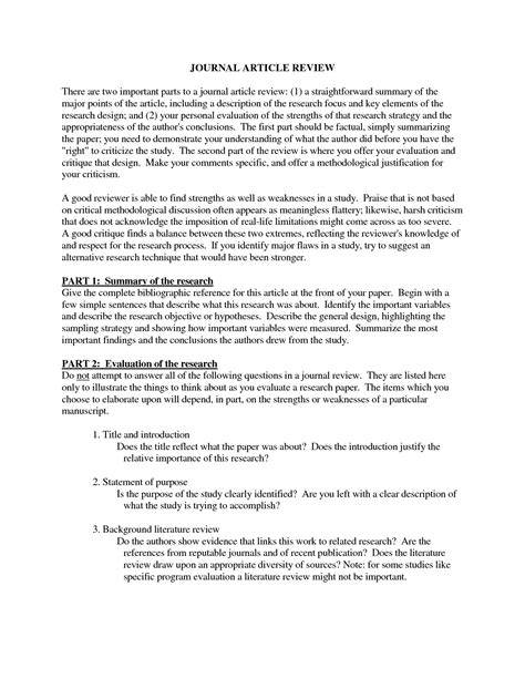 Reading an article critique helps an audience to understand the key points of the article, and the author's ideas and intentions. Journal Article Review Template | amulette