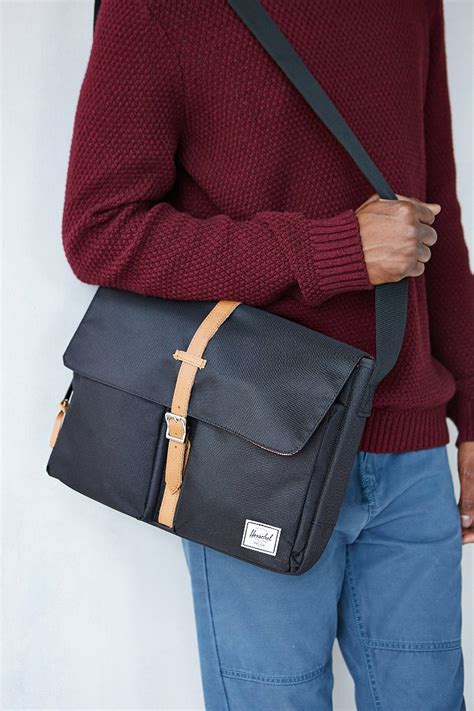 herschel supply  columbia messenger bag  black  men lyst