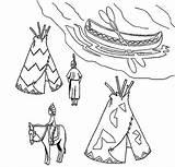 Native Coloring American Canoe Village Ojibwe Teepee Pages Birchbark Symbols Indian Horse sketch template