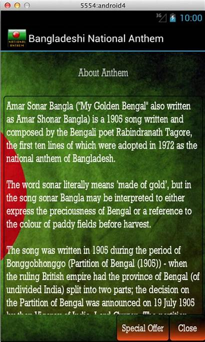 Anthem National Bangla Amar Bangladesh Shonar Bangladeshi