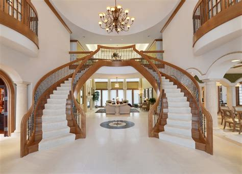 dual staircase  grand foyer luxury homes pinterest