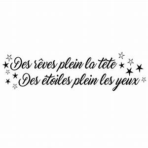 Sticker citation Des rêves plein la tête stickers Citations Français ambiance sticker