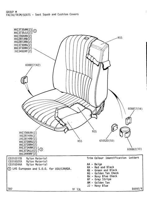 Revington TR - TR7 Plate 2F-13L - FACIA/TRIM/SEATS - Seat