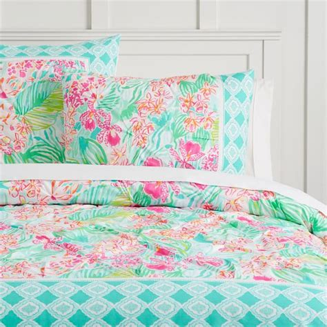 lilly pulitzer sheets lilly pulitzer organic orchid border duvet cover sham