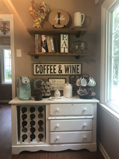A coffee bar, or coffee 'station', is such a pretty way to organize your kitchen counter with a function and useful space. Coffee Bar; Wine Bar; Rustic Eat in Kitchen; Kitchen Décor in 2020 | Coffee bar home, Bars for ...