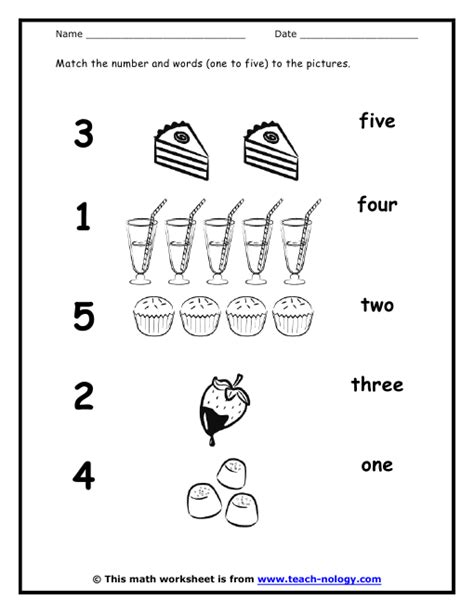matching words and numbers numbers 1 to 5