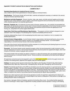 Janitorial Contracts Templates Sample Janitorial Contract Free Printable Documents