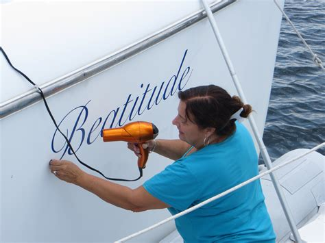 Removing Boat Lettering by May 2014 Beatitude Ii