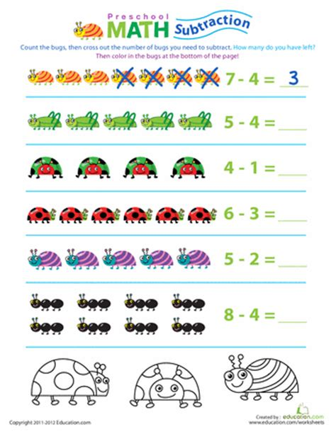 preschool math take away the bugs worksheets math and