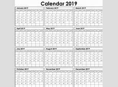 Yearly Calendar Planner Template 2019 Free Printable
