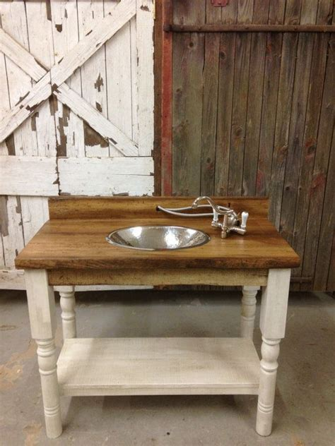 reclaimed barn wood bathroom vanity turned legs shelf plank pallet modern rustic urban white