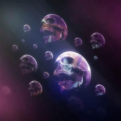 Skull Smoke Purple Lights Ipad Wallpapers Paint
