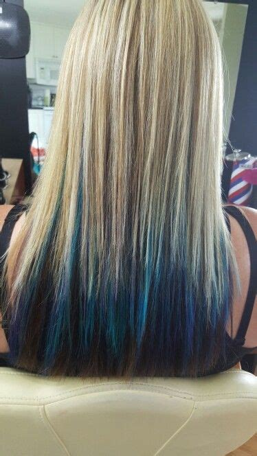 Chunky Blonde Highlights With Blue Turquoise And Purple