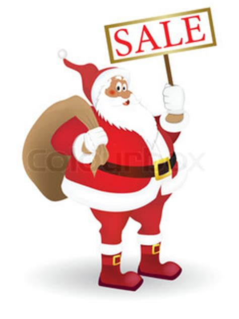 santa claus with a plate quot sale quot in his hand vector