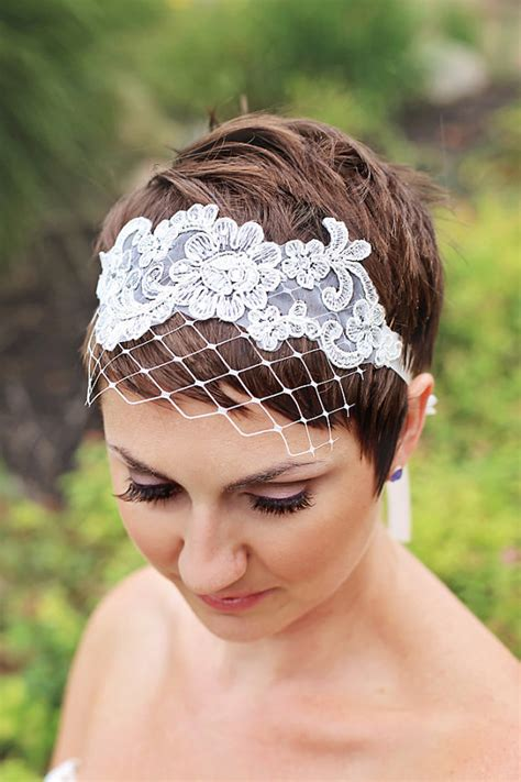 wedding veils  short hair