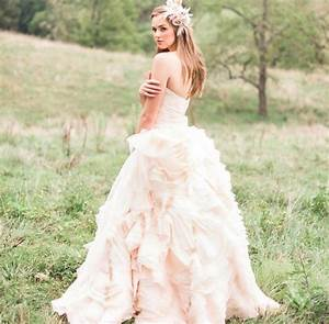 light pink romantic wedding dress onewedcom With pastel pink wedding dress