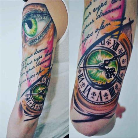 eye  clock  sleeve tattoo  tattoo ideas gallery