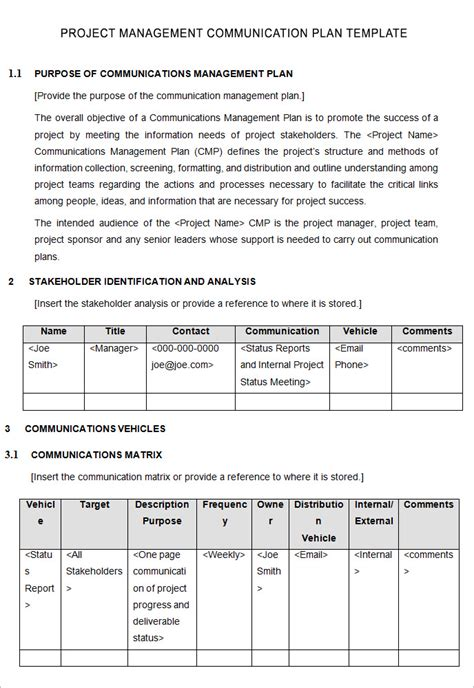 communication template project management communication plan template 7 free word pdf excel documents