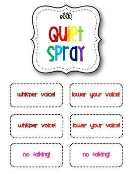 classroom management mini packet quiet spray classroom
