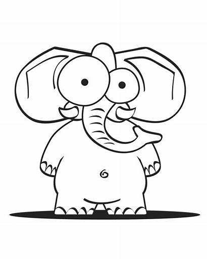 Elephant Coloring Pages Crazy Cartoon Template Printable