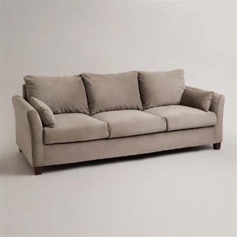 World Market Luxe Sofa Cover by Gray Mink Velvet Luxe 3 Seat Sofa Slipcover World Market
