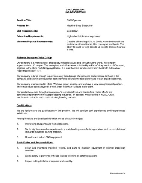 resume for cnc machine operator cnc machinist description resume foto 2017