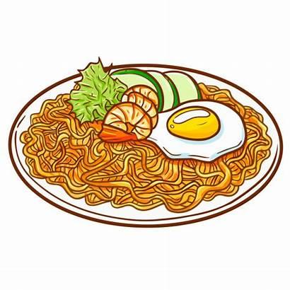 Fried Goreng Noodle Vector Seafood Nasi Indonesia