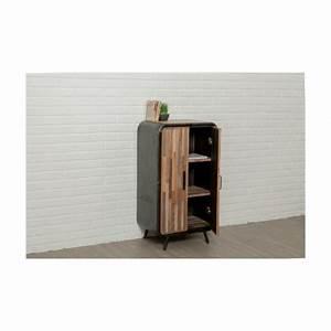 Meuble De Rangement Haut : meuble de rangement haut industriel 60 cm benoit en teck massif recycl et m tal ~ Teatrodelosmanantiales.com Idées de Décoration