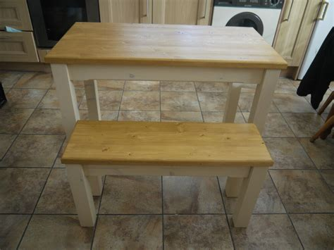 Kitchen Table Set With Bench by Wooden Farmhouse Kitchen Dining Table And 2 Bench Set