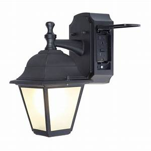 shop portfolio gfci 1181 in h black outdoor wall light at With outdoor plug in porch light